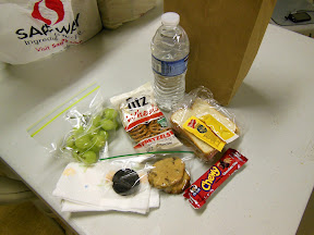 Bread for the Journey - this was the lunch we made and handed out.  Ham & Cheese sandwich (because usually people hand out PB&J), grapes (because they are soft to eat), water, pretzels, granola bar, and a home-baked cookie.