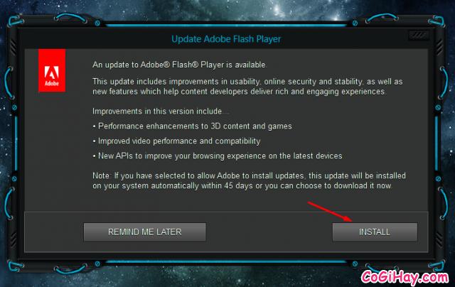 thông báo cập nhật flash player