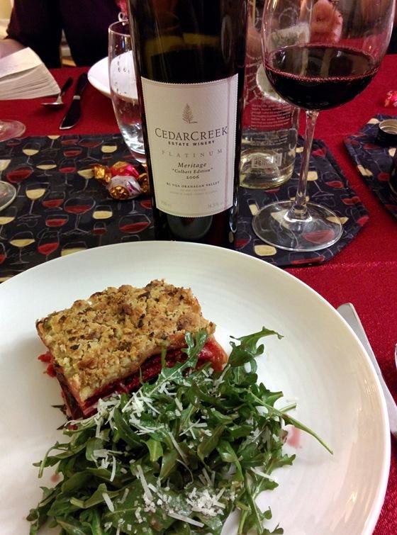CedarCreek 2006 Colbert Edition Platinum Meritage with Beet & Cheddar Lasagna
