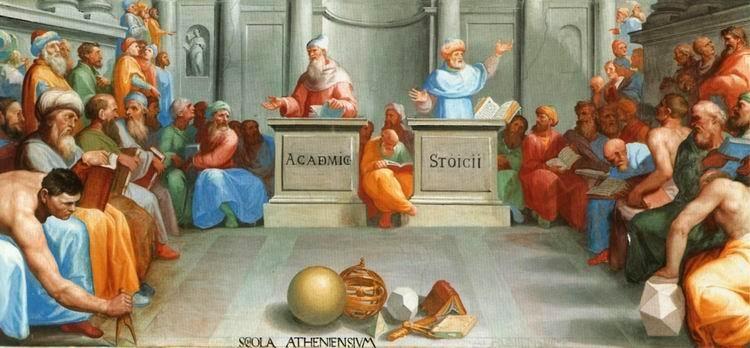 Pellegrino Tibaldi - La escuela de Atenas. Platónicos-Estoicos