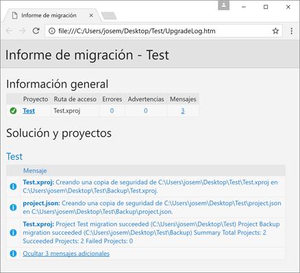 Informe de migración a .csproj
