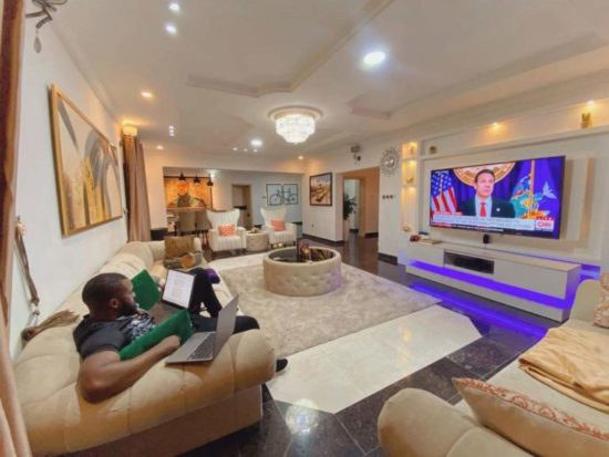 Williams Uchemba flaunts the luxury interiors of his living room