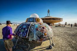 spaceship art installation next to the Man.