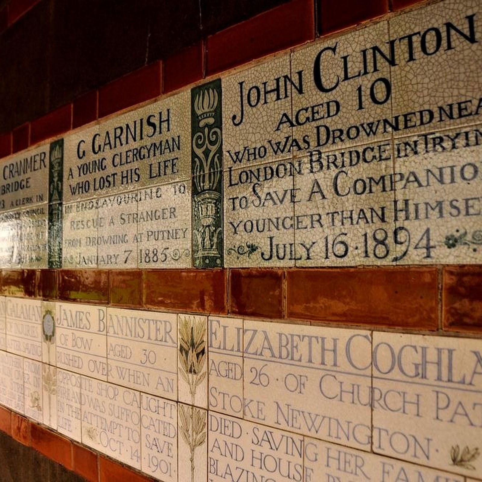 Postman's Park's Memorial to Heroic Self Sacrifice