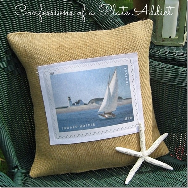 CONFESSIONS OF A PLATE ADDICT Burlap and Canvas Sailboat Pillow2