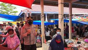 Polres Way Kanan Bersama Satuan Tugas Percepatan Penanganan Covid-19 Laksanakan Sidak Di Pasar Pemda