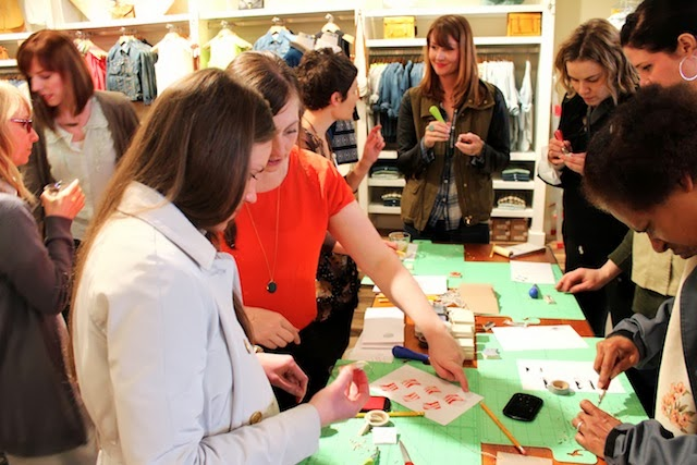 assemble and madewell crafting and shopping night make your own stamps