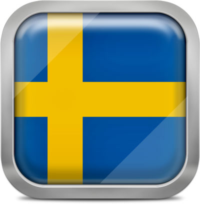 Sweden square flag with metallic frame