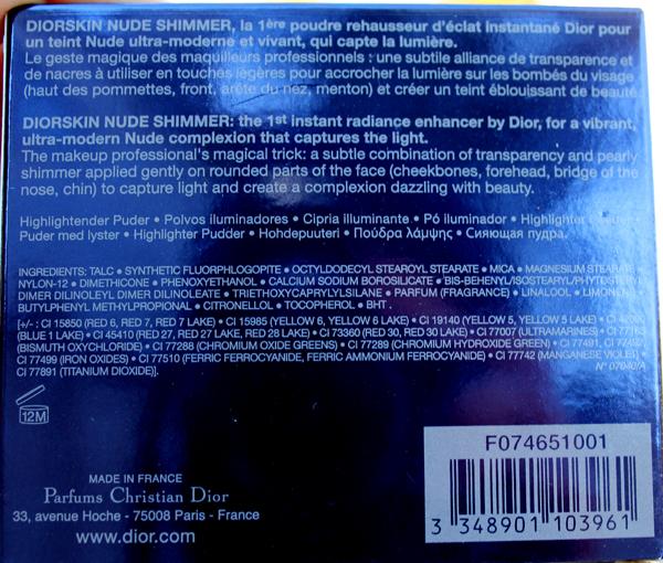Dior Diorskin Nude Shimmer 001 - состав