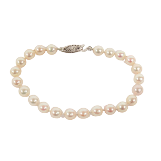 Pearl and 14K White Gold Bracelet