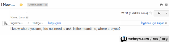 Gmail çeviri özelliği