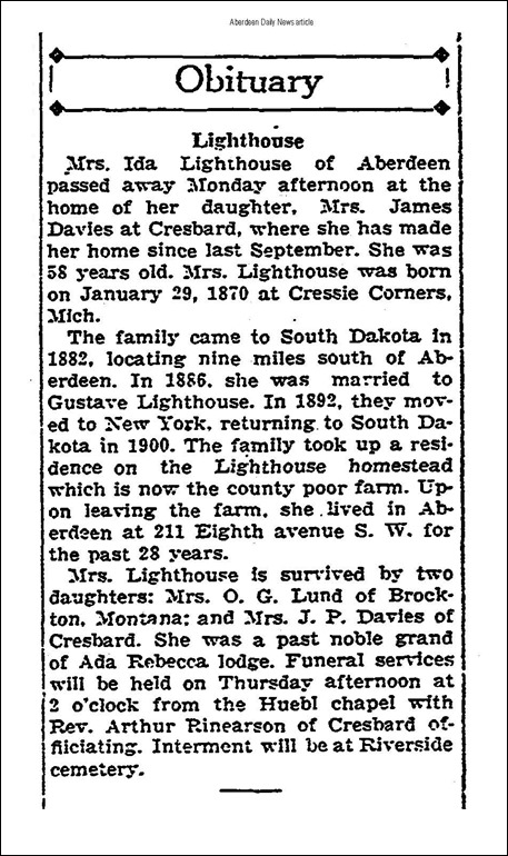 LIGHTHOUSE_Ida_Obit_22 Jan 1929_Aberdeen Daily News_pg 2