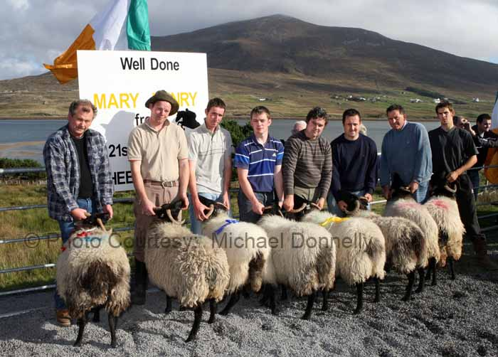 Winners of the Pen of 2 Hogget Ewes class (Confined) at the 21st Achill Sheep Show (Taispeántas Caorach Acla 2007) at Pattens Bar, Derreens Achill were from left 1st Jim and Gerard O'Malley Ballyknock Achill; 2nd Martin Calvey Keel, and Kevin Lavelle; 3rd  Sean Corrigan Dookinella and Kieran O'Malley  and 4th Mark Davitt and Tom Davitt. Photo: © Michael Donnelly
