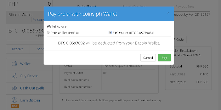 exchange bitcoins to philippine peso (BTC to Php)