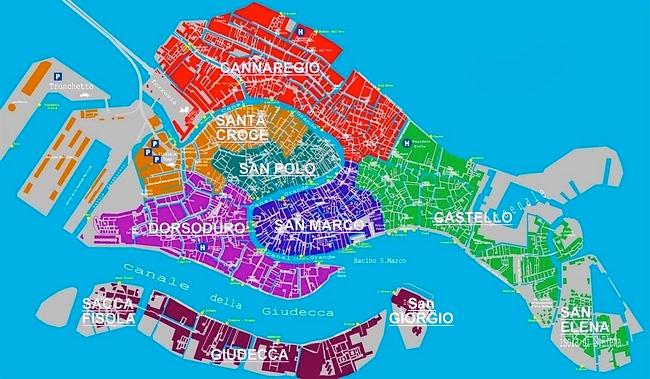 A map of the different areas of Venice.