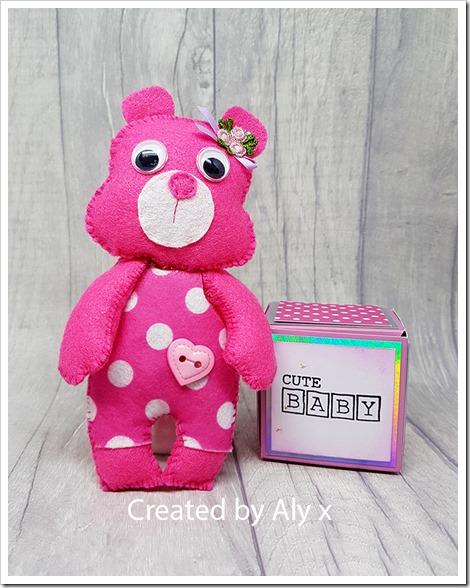 pink felt bear