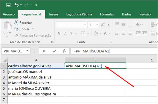 Excel - Como alterar o texto para maiúsculas, minúsculas ou primeira letra em maiúscula - Visual Dicas
