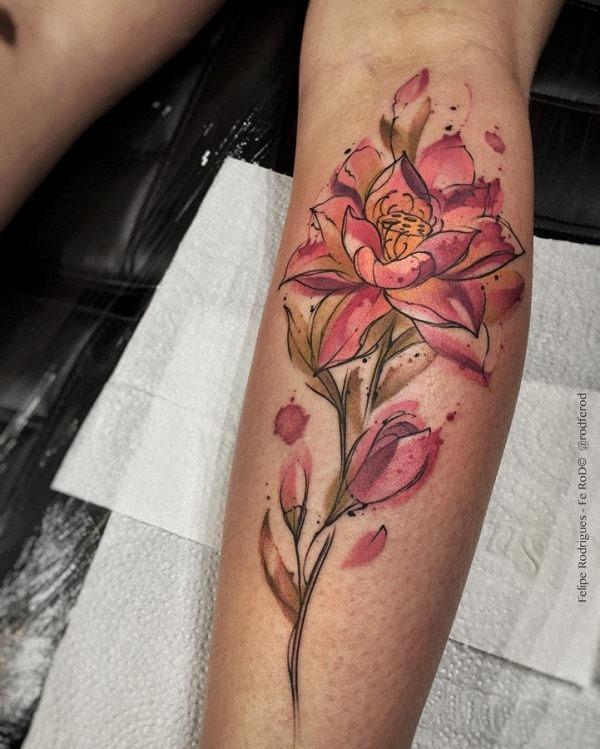 este_fantstico_aquarela_flor_da_tatuagem