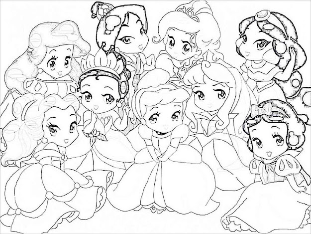 Disney Princess Coloring Page Cartoon  Cartoon Baby Disney  Princess Coloring Pages