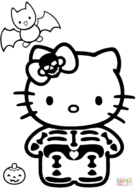 Click The Hello Kitty Halloween Skeleton Coloring Pages