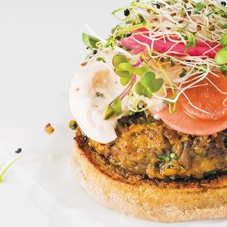 Quinoa, Sweet Potato And Walnut Veggie Burgers.