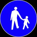 C-16  droga dla pieszych  Znak nakazuje pieszym korzystanie z drogi przeznaczonej wyłącznie do ruchu pieszego. Stosowany tam, gdzie ze względu na duże natężenie ruchu pieszego, wyeliminowanie ruchu pojazdów zapewnia poprawę bezpieczeństwa.