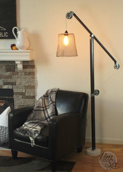 DIY wood and metal pulley floor lamp