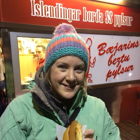 Trying the famous Icelandic hot dogs on Iceland food and drink