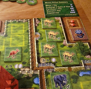 Part of the board during a game of Zooloretto