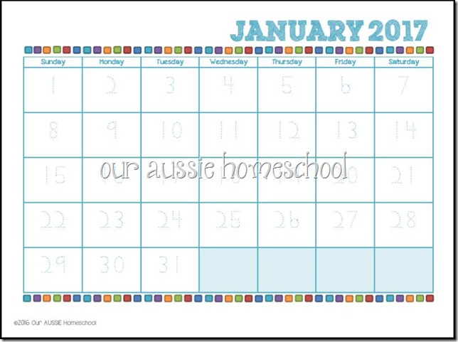 Manuscript Calendar Printable - Our Aussie Homeschool