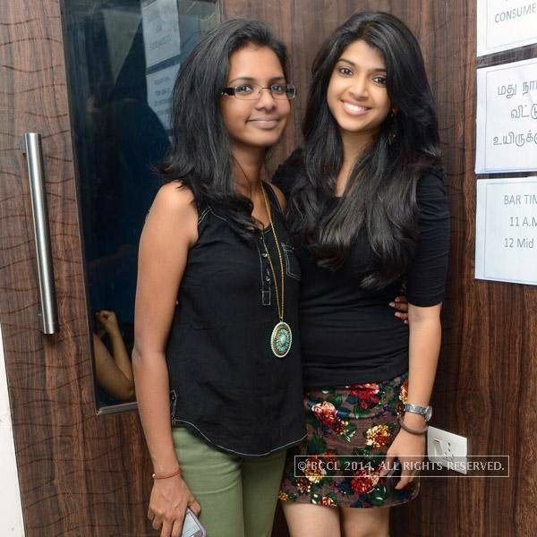 Nami and Nimmi pose together during a party organised at Small World pub in Chennai.