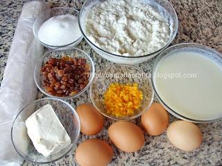 Placinta dobrogeana creata cu branza dulce si stafide ingrediente