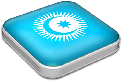 Flag of Turkic Council with metallic square frame