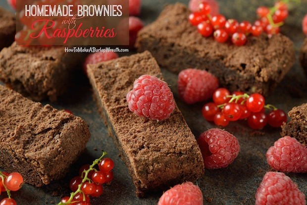 Chocolate brownies with raspberries and currants