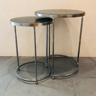 Stone Top Nesting Table Pair #2