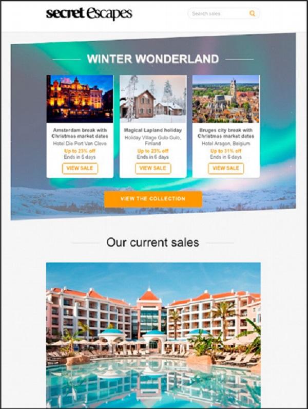 Mẫu email marketing của ngành du lịch