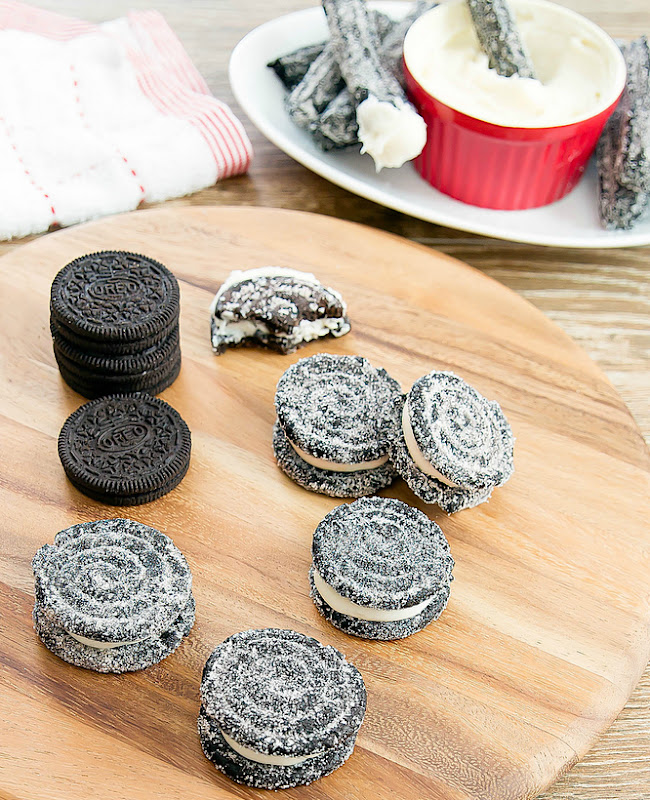 oreo churros on a cutting board