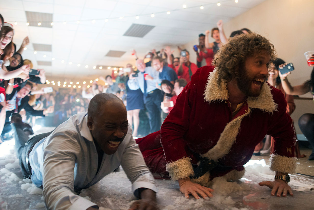 (L-R) Courtney B. Vance as Walter and T.J. Miller as Clay Vanstone in OFFICE CHRISTMAS PARTY. (Photo by Glen Wilson / courtesy of Paramount Pictures).