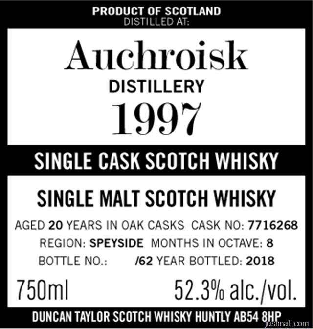 Duncan Taylor 1997 Auchriosk Distillery Single Cask