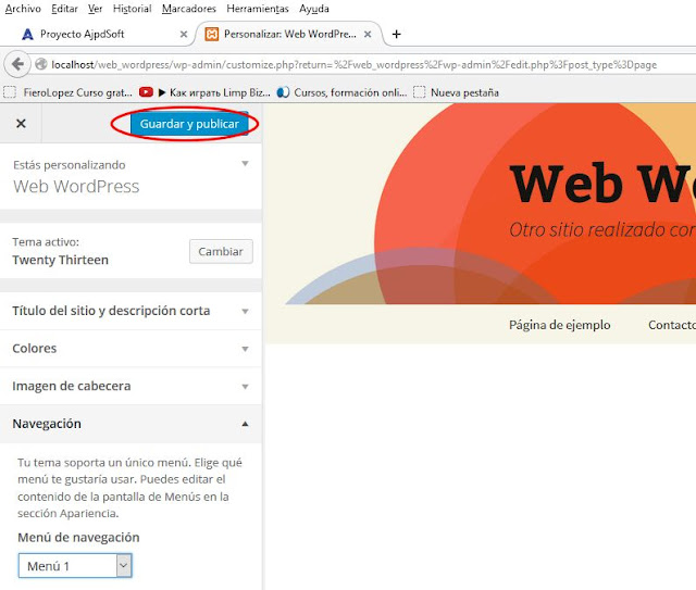 Crear un menú en WordPress