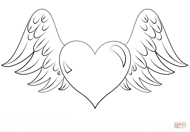 Click The Heart With Wings Coloring Pages To View Printable Version Or Color  It Online Patible With Ipad And Android Tablets