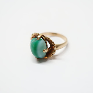 10K Gold Ring with Green Stone