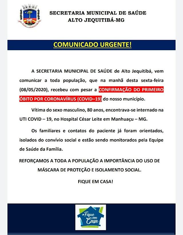 Urgente: Alto Jequitibá registra primeiro óbito por Covid-19