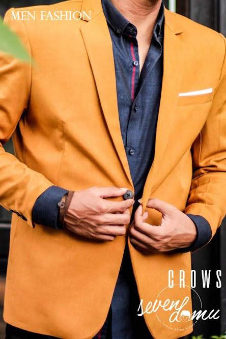 seven domu blazer single button mustard bk04 3