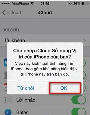 Chọn OK để bật định vị iPhone