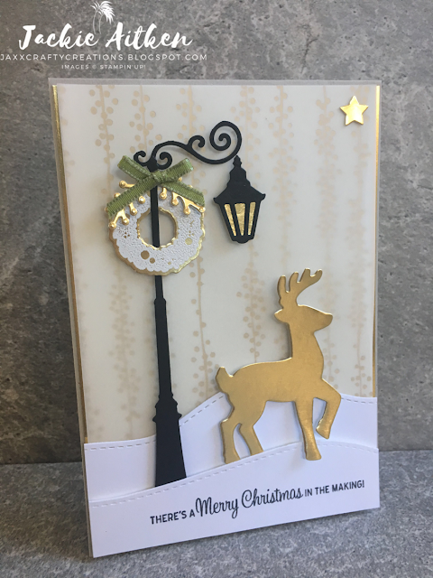stampin up christmas card, gold and vanilla, santas sleigh bundle, brightly lit bundle