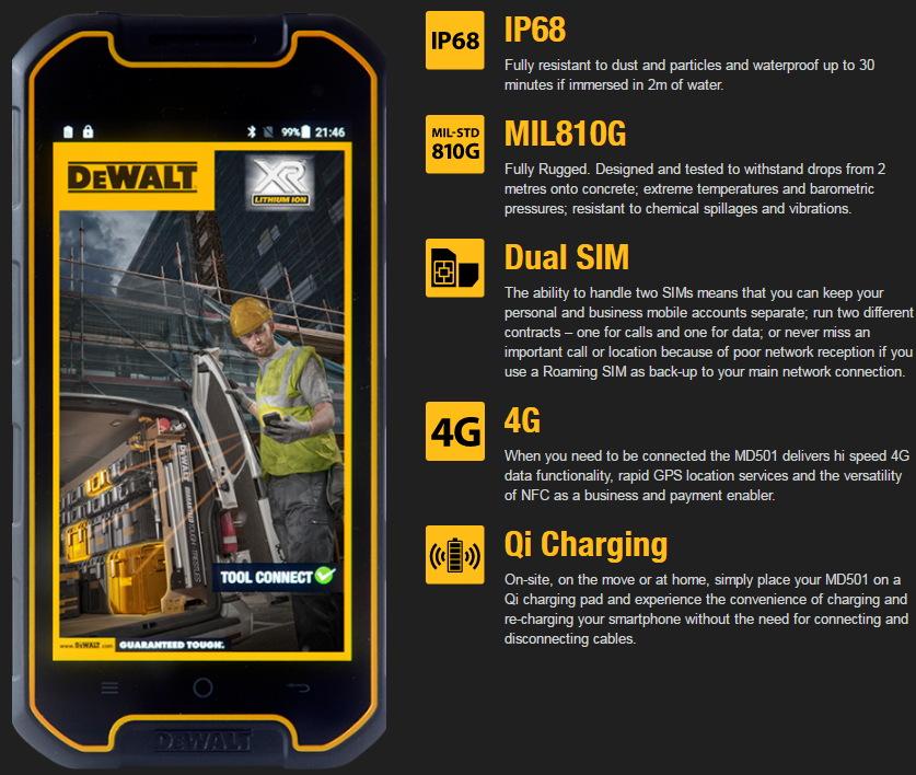 Image of IP68 Fully resistant to dust and particles and waterproof up to 30 minutes if immersed in 2m of water. MIL810G MIL810G Fully Rugged. Designed and tested to withstand drops from 2 metres onto concrete; extreme temperatures and barometric pressures; resistant to chemical spillages and vibrations. Dual SIM Dual SIM The ability to handle two SIMs means that you can keep your personal and business mobile accounts separate; run two different contracts – one for calls and one for data; or never miss an important call or location because of poor network reception if you use a Roaming SIM as back-up to your main network connection. 4G 4G When you need to be connected the MD501 delivers hi speed 4G data functionality, rapid GPS location services and the versatility of NFC as a business and payment enabler. Qi Charging Qi Charging On-site, on the move or at home, simply place your MD501 on a Qi charging pad and experience the convenience of charging and re-charging your smartphone without the need for connecting and disconnecting cables.