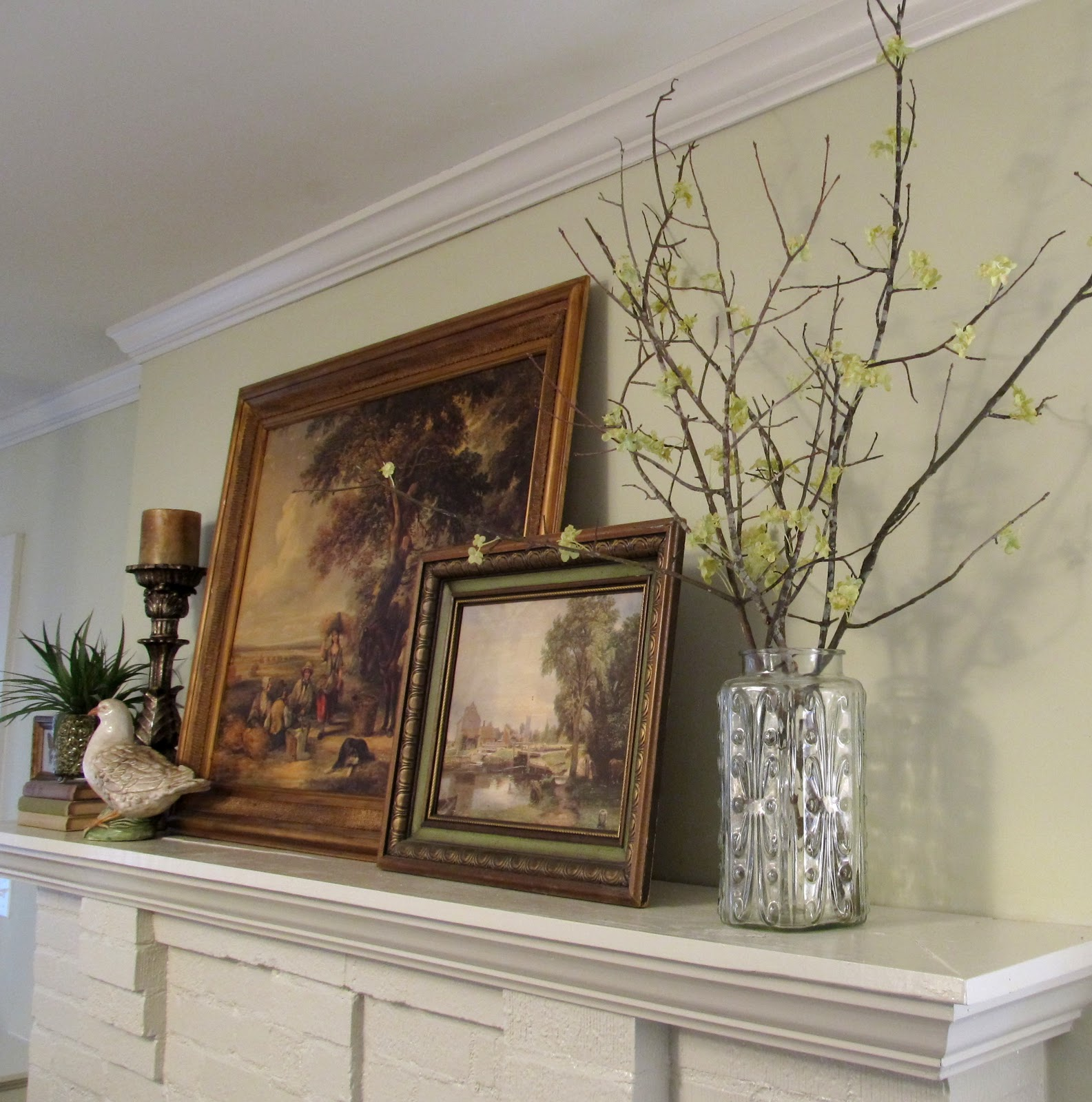 Cottage hill spring mantel decorating with faux for Twig decorations home