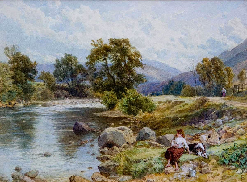 Myles Birket Foster - The River Cluny near Braemar, Scotland