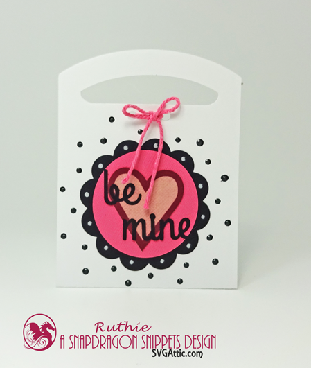 Valentine Tote Candy Box,  Valentine Tote Candy Be Mine Box, Ruthie Lopez, SnapDragon Snippets 3